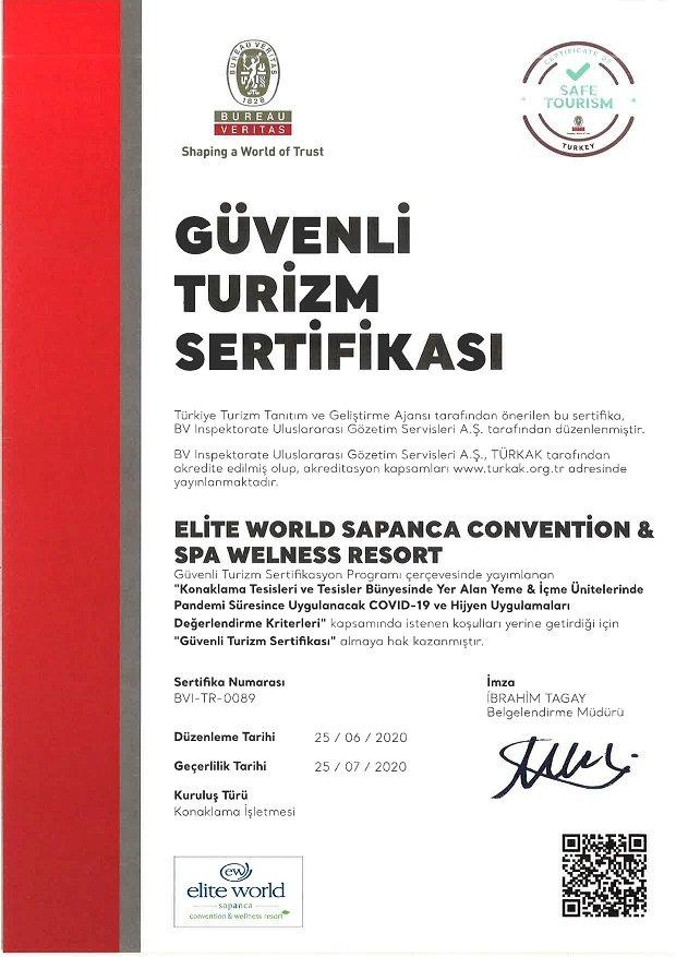 Elite World Hotels, Güvenli Turizm Sertifikası Aldı